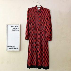 Red & Black Pleated 80's Dress | Vintage